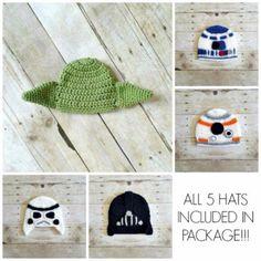 Crochet Star Wars Hat Beanie Bundle Package Yoda R2D2 Stormtrooper BB8 Darth Vader Set Newborn Infant Toddler Child Adult Photography Prop - Red Lollipop Boutique