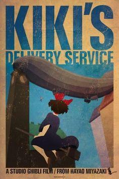 Vintage-Inspired Anime Art - These James Bacon Miyazaki Movie Posters are Manga Magnificent (GALLERY) Hayao Miyazaki, Totoro, Kiki Delivery, Kiki's Delivery Service, Studio Ghibli Films, Ai No Kusabi, Animation, Fan Art, I Love Anime