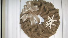 Beach Rustic Cottage Burlap Wedding Decor Wreath Nautical Coastal Starfish Shabby Wedding Reception on Etsy, $50.00