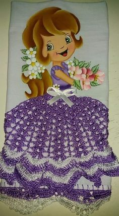 Disney Characters, Fictional Characters, Cinderella, Disney Princess, Crochet Carpet, Dish Towels, Fabric Dolls, Skirt, Butterflies