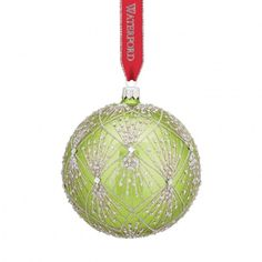 2015 Holiday Heirlooms Nostalgic Bright Green Tinsel Ball Ornament