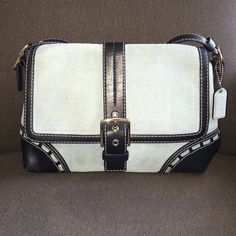 "Coach Cross-body/Shoulder Bag No.E0767-F11205 Coach No E0767-F11205. Authentic. Rare. Soft Blue Suede w/ black navy blue leather trim. Cross-body/Shoulder Bag. Strap is convertible from shoulder to cross-body. Flap has magnetic closure. Inside has one zippered pocket & two slip pockets. Interior fabric has no stains, rips, or tears. Measurements: 11""(L)x8""(H)x4""(W) Coach Bags Shoulder Bags"