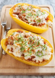 If you've never experienced the magic that is spaghetti squash, this is the recipe to kick off your new fall obsession. It's called spaghetti squash for a reason, after all, and these tender strands of squash make a remarkable stand-in for our favorite pasta dishes. Today, this mild-tasting squash is getting a lasagna makeover. Mozzarella, ricotta, meat sauce — the works. It's a bowl of hot-baked goodness that you get all to yourself, no sharing required.