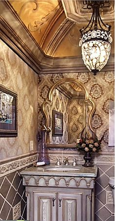 decorating above kitchen cabinets tuscan style Tuscan Bathroom, Boho Bathroom, Bathroom Ideas, Bathroom Faucets, Master Bathroom, Bathroom Stencil, Rustic Bathrooms, Downstairs Bathroom, Modern Bathroom