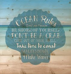 Ocean Rules - Wall sign, perfect for your nautical and beach house decor. - measures x - rustic, weathered designs - canvas made from lath-thin, narrow strips of wood - sawtooth hanger included : puzzlematters Beach Room, Beach Art, Ocean Themes, Beach Themes, Beach Ideas, Coastal Style, Coastal Decor, Rustic Beach Decor, Strand Design