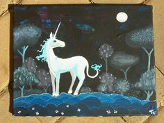 Last Unicorn Painting Leaving the Forest Original by tarren