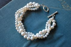 White Freshwater Pearl Twist Bracelet by SarahWhiteJewelry on Etsy, $34.00