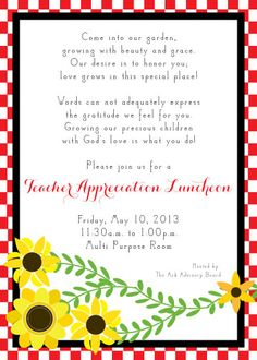 Teacher Appreciation Invitation Printable Teacher Thank You Card