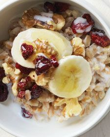 Farro has a great chewy texture that goes well with crunchy walnuts and slices of soft banana.