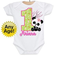 Birthday Girl Shirt Cherry Birthday Shirt Panda by BabyBirthdayTee