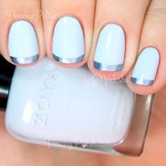 """Blue Metallic French Tip   Peachy Polish (Zoya """"Blu"""" & essie """"blue rhapsody"""")"""