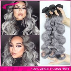 Top Grade ombre 1b gray virgin hair Ombre grey hair weaves Human hair extensions two tone Ombre Peruvian Body Wave free shipping