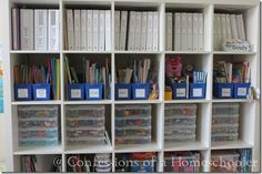 Organization (This post is for a workbox system, but breaks down areas by function - useful!) Office Supply Organization, Classroom Organization, Organization Ideas, Organizing, Bookshelf Organization, Classroom Design, Storage Ideas, Classroom Ideas, Homeschool Supplies