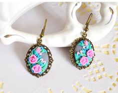 Earrings embroidered floral earrings Cross stitch от TomikArt