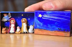 Pre make the little figures and the craft would be to dress them and paint the match box. Fimo would work well, or even a small bead on a bit of pipe-cleaner with wool wrapped round and glued. Nativity Crafts, Christmas Projects, Christmas Crafts, Christmas Decorations, Christmas Nativity Set, Christmas Love, Winter Christmas, Nativity Sets, Matchbox Crafts