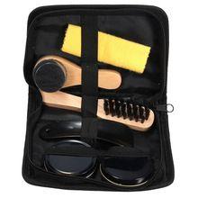 Висока якість 6 Pieces Професійний догляд Чистка інструментів Black & Нейтральна Чищення взуття польський Чистка Гладкі дерев'яні щітки Set (Китай (материк))