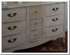 Very clever upcycle of an old style dresser. She describes how to use laser cut scrapbook paper with modeling paste to create a raised look on the wood