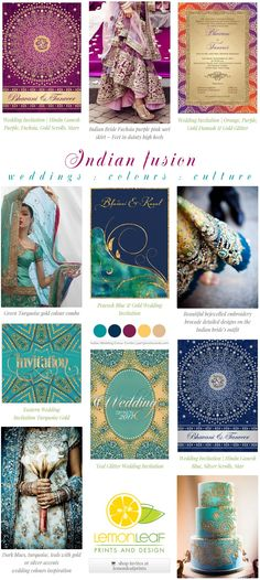 screenshot from partyinvitecards of mood board type curated collection with Indian wedding theme invitations by designers at @lemonleafprints -one of them me :) - Made a little color swatch thang too!