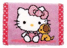 Tapis point noué hello kitty avec un chien de Vervaco