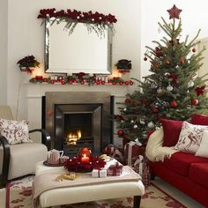 decoration elegant red christmas living room decor available luxury fireplace mirror and a christmas tree mantel ornaments and colourful light - Decoration Maison Pour Noel