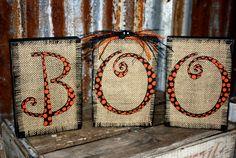 Burlap HALLOWEEN wood Stacked Home Decorating Blocks Fall Decorating Polka Dots. $24.00, via Etsy.