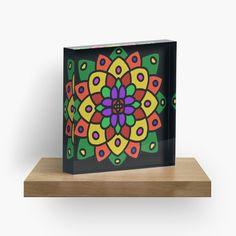 """Flower of Life Mandala"" Acrylic Block by Pultzar   Redbubble"