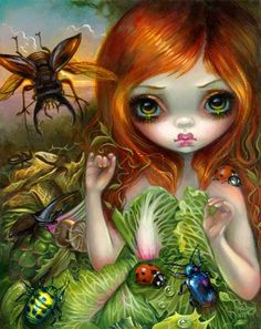 Insectarium I: Beetles by Jasmine Becket-Griffith insects ladybug horned goliath rhinoceros beetle big eyes art painting lowbrow pop surrealism