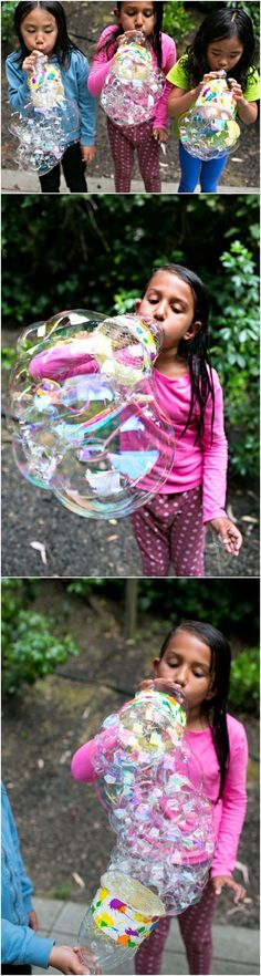DIY Recycled Bottle Bubble Blower. Updated this fun post to show how to make GIANT bubbles with bigger bottles. Such a fun summer craft for kids!