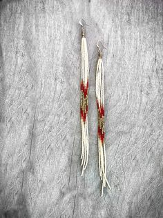 Super Long Beaded Earrings, Seed Bead Fringe Earrings in Autumn Colors with Brass accents. Shoulder Dusters, Tribal Jewelry, Fall Fashion