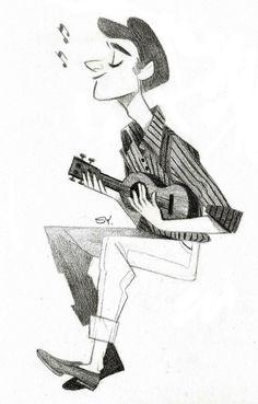 Pencil Illustration - a guy playing ukulele Character Design Animation, Character Design References, Illustration Sketches, Character Illustration, Ukulele Drawing, Character Concept, Character Art, Character Design Inspiration, Game Design