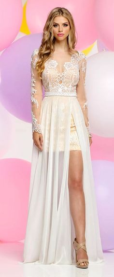 NEW! Popular Silk-like Chiffon & Tulle V-neck Neckline Full-length A-line Prom Dresses With Sash & Slit & Lace Appliques