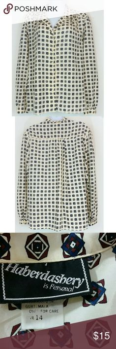Haberdashery Beige Multicolor Geometric Shirt 14 Beautiful Haberdashery is Personal long sleeve button down shirt. Approximate measurements in inches taken laying flat & measuring from corner to corner then doubling to get full measurement around.  BUST: 43 WAIST: 43 LENGTH: 27 Haberdashery  Tops Button Down Shirts