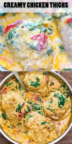 Healthy Dinner Recipes Discover Creamy Chicken Thighs These tender Creamy Chicken Thighs are loaded with flavor! Spinach roasted peppers onions Parmesan and cream come together to create an absolutely scrumptious sauce. Cooking Recipes, Healthy Recipes, Easy Yummy Recipes, Delicious Chicken Recipes, Pasta Recipes, Vegetarian Recipes, Lasagna Recipes, Cooking Games, Shrimp Recipes