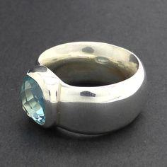 Ring Blue Topaz Heavy Silver