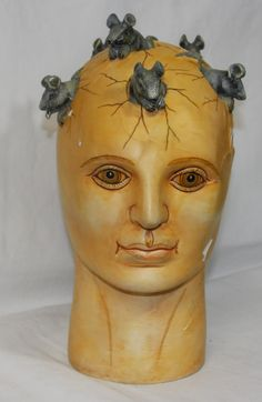 1983 Sergio Bustamante Ceramic Bust Sculpture Life Size Head with Mice