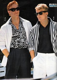 men's fashion during the 80's changed tremendously. from three piece suits to casual suits like the picture above. Men started wearing loose pants made from soft loose fabric and long folded sleeve shirts.