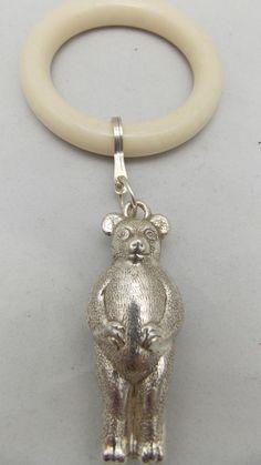 HALLMARKED STERLING SILVER TEDDY BEAR TEETHING RING #Birmingham
