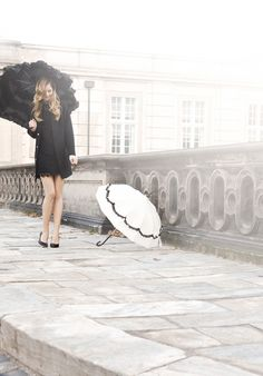 Glamorous umbrellas by Lisbeth Dahl Copenhagen Spring/Summer 13. #LisbethDahlCph #Glamorous #Ruffles #Black #White