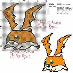 Patamon free cross stitch pattern Digimon 50x55 6 colors