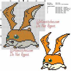 Patamon free cross stitch pattern Digimon 50x55 6 colors
