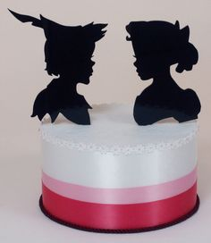 Wedding Cake Topper Peter Pan and Wendy by PaperPortraits on Etsy
