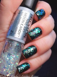 Revlon Moon Candy in Moon Dust :: Black creme w/ iridescent flakie topcaot that shifts from gold to green to teal & blue. (Add thinner to flakie polish & use a good coat of Gelous or Glitter Food to tame the flakies before you top coat.)
