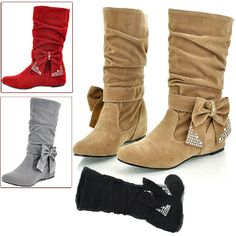 "Hidden Heel Rhinestone Bowknot Dressy Boots Size 5-8   $24.32  http://shop.thorns2roses.com/Hidden-Heel-Rhinestone-Bowknot-Dressy-Boots-Size-5-8-4000-DLDS-8213.htm  Colors: Red, Gray, Black, Brown, Khaki  Upper Material: Faux Suede  Outsole Material: Rubber  Heel Height: Approx. 4.2cm / 1.65""  Sizes for selection: (US) 5, 6, 7, 8"