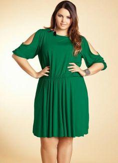Vestido Verde com Abertura nas Mangas Quintess - Moda Feminina Vestido Vestido Médio Plus Size Feminino - Quintess - Moda Feminina