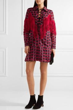 Anna Sui - Fringed Printed Cotton And Silk-blend Mini Dress - Red - US