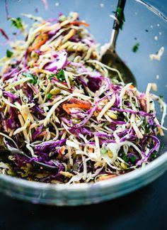 Simple healthy coleslaw recipe made with an irresistible lemon dressing and sunflower seeds - http://cookieandkate.com