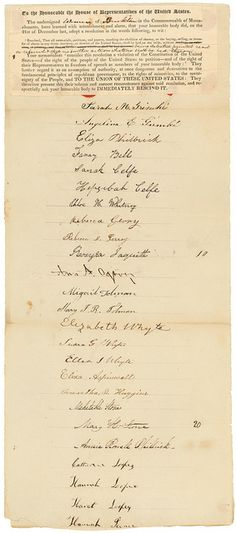Petition from women of Brookline, Massachusetts, praying that the gag rule be rescinded, 02/14/1838 (National Archives, ARC 306638)