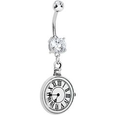 Cubic Zirconia Timeless Beauty Clock Dangle Belly Ring | Body Candy Body Jewelry