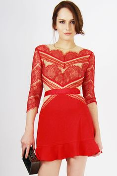 SHADES OF RED Lace Dress - ATTENTION this dress is stretchy but fits small on the waist s = 66 cm // m = 70 Make an unforgettable entrance with this vibrant red dress by Three Floor. Made of soft crepe, nude mesh and lace, all pieced together for a beautifully chic design. This piece includes: plain red skirt with frill hem and lace top with three-quarter length sleeves and gold metal zip. Available even in blue! *Measures are in cm    SIZE & FIT Length(from the ...