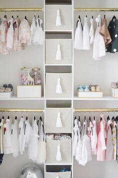 This Pink & White Swan Inspired Nursery will Make You Swoon – Project Nursery Project Nursery – DIY Nursery Closet Interior View Baby Nursery Closet, Baby Girl Closet, Ikea Nursery, Baby Nursery Diy, Nursery Room Decor, Project Nursery, Girl Nursery, Girl Room, Nursery Ideas